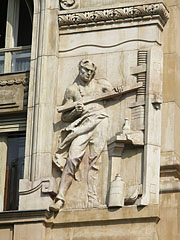 Relief on the wall of the Hungarian National Bank building - Budapešť, Maďarsko
