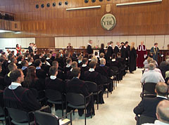 The graduation ceremony of 2015 of the Szent István University YBL Miklós Faculty of Architecture and Civil Engineering, in the ceremonial hall - Budapešť, Maďarsko