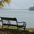 The Megyeri Bridge (also known as the Northern M0 Danube bridge) from a bench of the Római-part (river bank) - Budapešť, Maďarsko