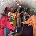 Panopticon or waxworks in the casemate of the Castle of Diósgyőr, wax figures of King Louis I of Hungary and some of his courtiers - Miskolc, Maďarsko