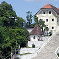 Wide stairs from the lake to the church - Bled, Slovenya