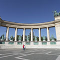 The left side colonnade (row of columns) on the Millenium Memorial monument - Budapest, Hungría