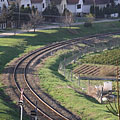 Curved rails and a railway crossing - Eplény, Hongrie