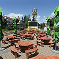 "The circular tables of the ""VB Terasz"" brasserie (they were in the square on the occasion of the Soccer World Cup) - Siófok, Hongrie"