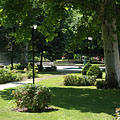 The park of the Honvéd Cultural Center, including ornamental bushes and plane trees - Budapest, Unkari