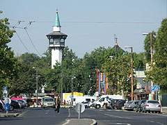 "The ""Állatkerti körút"" (""The Zoo's Boulevard"") with the tower of the Elephant House in the Budapest Zoo - Budapeszt, Węgry"