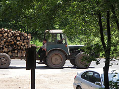 A timber carrying tractor on the road - Pilis Mountains (Pilis hegység), Węgry