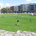 The remains of the Aquincum Military Amphitheater from the Roman times in the middle of Óbuda district - Будапеща, Унгария