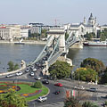 """The Danube and the surroundings of the Széchenyi Chain Bridge, viewed from the Buda Castle Hill Funicular (""""Budavári Sikló"""") - Budapest, Ungarn"""