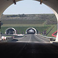 "The circular entrances of the Tunnel ""D"" or ""Véménd"" tunnel, viewed from the ""Baranya"" tunnel - Szekszárd (Sechshard, Sechsard), Ungarn"