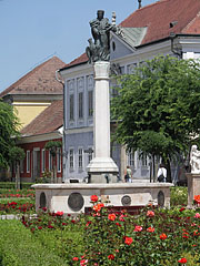 "Main square, baroque statue near the Town Hall and the Provost Major's Palace (in Hungarian ""Nagypréposti palota"") in the background - Vác (Waitzen), Ungarn"
