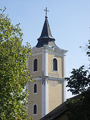 The tower of the Holy Trinity Roman Catholic Parish Church - Siklós, Ungarn
