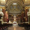 The sanctuary and the main altar in a canopy (or baldachin) of the roman catholic cathedral church - Budapest, Ungari