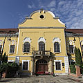 The main facade of the neoclassical late baroque style (in other words copf or Zopfstil) former County Hall - Nagykálló, Ungari