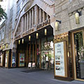 "The main entrance of the Párizs Department Store (in Hungarian ""Párizsi Nagyáruház"" or ""Divatcsarnok"") on the Andrássy Avenue - Budapest, Ungern"