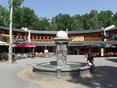 Small circular square with restaurants and brasseries around and a fountain in the middle - Siófok, هنغاريا