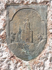 Bronze coat of arms on the Jubilee Memorial sculpture - Ajka, Hungary