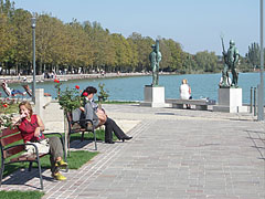 Rose Garden, with the statues of the Fisherman and the Ferryman, by the lake - Balatonfüred, Hungary