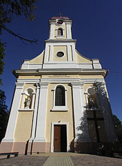 The main facade of the late baroque Christ the King Roman Catholic church - Barcs, Hungary