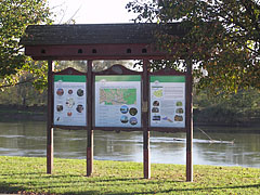Information board on the riverbank, with the tour routes along the Dráva River in the Danube-Drava National Park - Barcs, Hungary