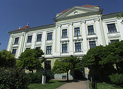 The green neo-baroque (neo-Zopf) style building of the Szeberényi Gusztáv Adolf Lutheran (Evangelical) Secondary School - Békéscsaba, Hungary