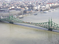 "Liberty Bridge (""Szabadság híd"") over the flooded Danube, viewed from Gellért Hill - Budapest, Hungary"