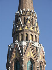 "The spire on the tower of the neo-gothic style St. Ladislaus Parish Church (""Szent László-templom"") - Budapest, Hungary"