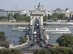 The sight of the Széchenyi Chain Bridge, the Danube River and Pest downtown from above the entrance of the Buda Castle Tunnel - Budapest, Hungary