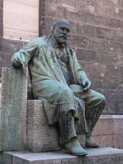 Statue of Ödön Lechner, a Hungarian architect who was designed this building - Budapest, Hungary