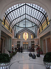 "The lobby is actually an atrium (the so-called ""Peacock Passage"", in Hungarian ""Páva Udvar"") - Budapest, Hungary"