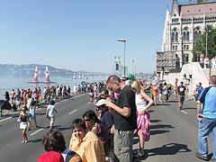 Spectators waiting for the air race on the downtown Danube bank at the Hungarian Parliament Building - Budapest, Hungary