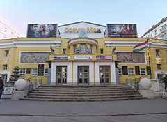Corvin Cinema, also known as Corvin Budapest Film Palace in the Art Nouveau-Bauhaus style building - Budapest, Hungary