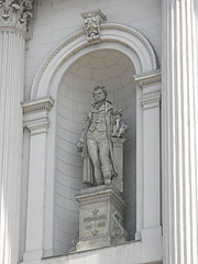 Statue of George Stephenson (1781-1848) English engineer on the main wall of the Keleti Railway Station - Budapest, Hungary