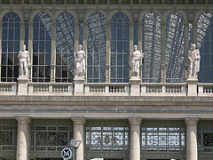 Four allegorical figures in the statue on the top of the Keleti Railway Station, above the main entrance - Budapest, Hungary