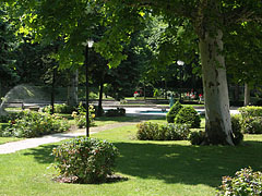 The park of the Honvéd Cultural Center, including ornamental bushes and plane trees - Budapest, Hungary