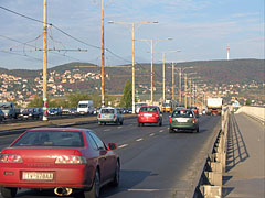 Car traffic on the six-lane Árpád Bridge - Budapest, Hungary