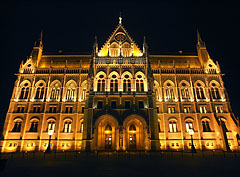 "The northern facade of the neo-gothic (gothic revival) style Hungarian Parliament Building (""Országház"") - Budapest, Hungary"