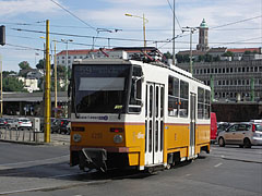 Czech-made (more precisely Czechoslovak-made) yellow Tatra tram at the Budapest-Déli Railway Terminal - Budapest, Hungary