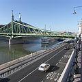 The Liberty Bridge and the lower quay, viewed from the Danube bank at the Budapest Corvinus University - Budapest, Hungary