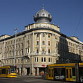 The onion-domed apartment building on the corner or the Grand Boulevard (former Erzsébetváros Branch of the First National Savings Association of Pest) - Budapest, Hungary