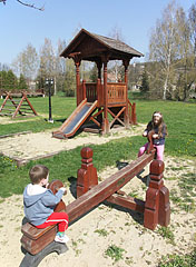 Wooden play structures in the playground - Csővár, Hungary
