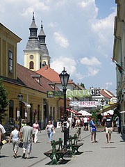 People on the pedestrian only street in summertime - Eger, Hungary