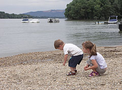 Children are searching among the pebbles on the Danibe bank - Göd, Hungary