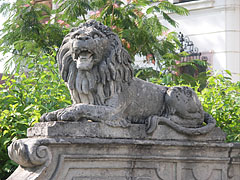 Stone lion sculpture at the main entrance - Gödöllő, Hungary