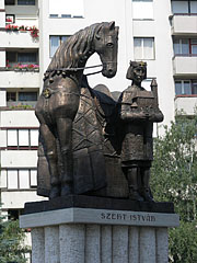 Modern style bronze statue of King St. Stephen of Hungary with a horse in front of the Great Church - Gyöngyös, Hungary