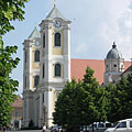 The double towers of the St. Bartholomew's Church or Great Church - Gyöngyös, Hungary