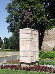 Statue of St. Stephen riding a horse in the Castle Garden on the river bank of Rába - Győr, Hungary