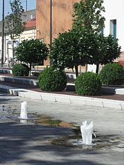 Fountains and ornamental bushes in the new pedestrian mall - Hódmezővásárhely, Hungary