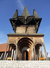 "Village Community Center, the wooden ""Székely Tower"" with the five ""Székely gates"" in unique arrangement - Kakasd, Hungary"