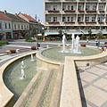 Terraced fountains in front of the cathedral - Kaposvár, Hungary